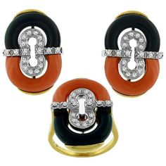 Vintage_1.25ct_Diamond_Onyx_Coral_Gold_Earrings_&_Ring_Set | New York Estate Jewelry | Israel Rose