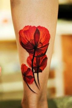 pencil sketch watercolor poppy tattoo on ankle - flower, stem | DIY Watercolor Tattoo