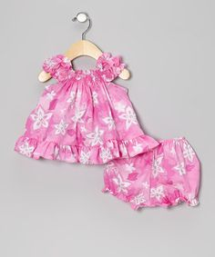 This Pink Flower Ruffle Dress & Bloomers - Infant & Toddler is perfect! #zulilyfinds
