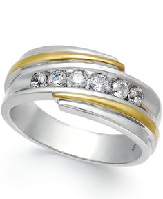 Men's Diamond Ring (1/2 ct. t.w.) in 10k White and Yellow Gold