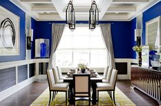 Unique cheerful blue dining room [Photography: Rikki Snyder] | www.bocadolobo.com #bocadolobo #luxuryfurniture #exclusivedesign #interiodesign #designideas  #diningtable #luxuryfurniture #diningroom #interiordesign #table #moderndiningtable #diningtableideas