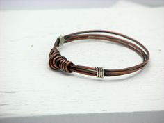 Hammered Copper Bangle Bracelet Rustic Wire Wrapped Jewelry Handmade Mixed Metal via Etsy.