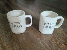 Rae Dunn KING and QUEEN Ceramic Mugs Coffee Tea Cup Set Wedding Couples Gift #RaeDunn #Farmhouse #AllOccasions Coffee Mug Sets, Mugs Set, Tea Cup Set, Cupping Set, Couple Gifts, Ceramic Mugs, Wedding Couples, Farmhouse, Weight Loss
