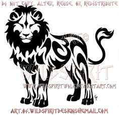Standing Tribal Lion Design by WildSpiritWolf.deviantart.com on @DeviantArt