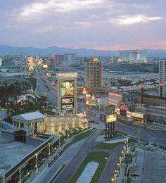 Las Vegas Strip c.1990-92 from a room at Caesars Palace. via Heath Stinson.
