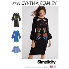 Cynthia Rowley knee length or mini dress. Featuring bishop sleeves with rain cloud and roses appliques. Pattern also includes top with flounce on sleeves and rose appliques. Simplicity sewing pattern Sizes Price code A Issue 826 Simplicity Sewing Patterns, Dress Sewing Patterns, Clothing Patterns, Cynthia Rowley, Bell Sleeve Blouse, Bishop Sleeve, Petite Dresses, Couture, Top Pattern