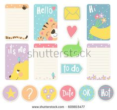 Set of backgrounds for notebooks, daily and weekly planner template, scrapbooking, cards, diary with cute tiger, bear and flowers. Modern style.