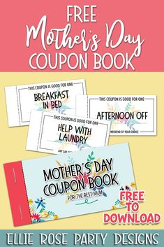 These free Mother's Day coupon booklet printables are a great gift for your mom on Mother's Day. Some of the Mother's Day coupons are already done for you, while others are blank so you can add any wording you want. Downloads your freebie by clicking through #mothersday #mothersdayfreebie #freemothersdayprintables #freemothersdayprints #freemothersdaycraftideas #mothersdaycrafts #mothersdaycouponbook Mother's Day Coupons, Gift Coupons, Im Sorry Gifts, Mother's Day Printables, Gifts For Your Mom, Mothers Day Crafts, Diy Birthday, Easy Gifts, Booklet