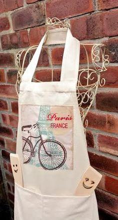 PARIS FRANCE BIKE apron retro bicycle vintage by VintageFromChris