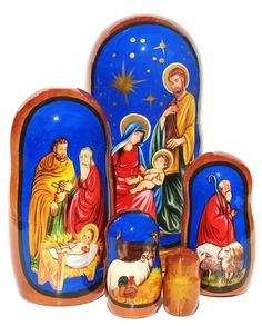 Nativity set of 5 Russian nesting dolls features Jesus Christ, Mary, Joseph in Bethlehem. Great Christmas gift.  Available for sale in limited stock.