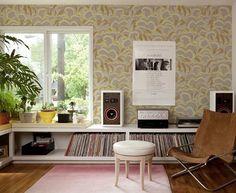 record storage, via Design*Sponge Record Shelf, Record Storage, Low Bookshelves, Low Shelves, Music Corner, Vinyl Storage, Interiores Design, Ideal Home, Interior And Exterior