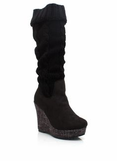 sweater knit wedge boots