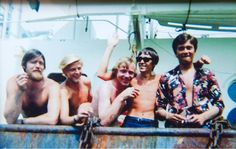 Tom Edwards, far right, pictured in 1967 when he was a DJ for Radio Caroline. Second from right is radio broadcaster Tommy Vance. The other three pictured are from the Dutch crew