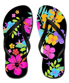 d3ac979bd06f Love this Black  amp  Fuchsia Graphic Flip Flops by CafePress on  zulily!