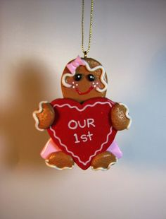 Our First Ginger Valentine Ornament in polymer by GingerbreadFair
