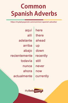 Get your point across in Spanish! Learn the 105 most commonly used and highly useful Spanish adverbs Spanish Help, Spanish Notes, Spanish Lessons For Kids, Learning Spanish For Kids, Learn To Speak Spanish, Spanish Basics, Study Spanish, Spanish Language Learning, Learn A New Language