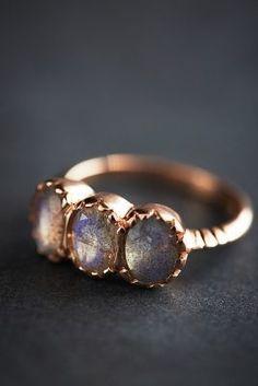 Arik Kastan Labradorite Trinity Ring in 14k Rose Gold #anthrofave