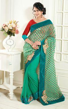 USD 76.08 Rakul Preet Singh Green Chiffon Party Wear Saree   35922