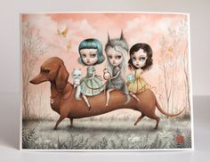 The Runaways  - Limited Edition signed numbered 11x14 Pop Surrealism Fine Art Print - by Mab Graves -unframed
