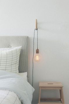 Favorite Things Friday Like Scandinavian Bedroom Copper Bedroom Bedside Lighting, Bedroom Lighting, Dim Lighting, Hanging Light In Bedroom, Light Bedroom, Hanging Light Bulbs, Bedside Lamps Hanging, Bed Side Lamps, Lighting Design
