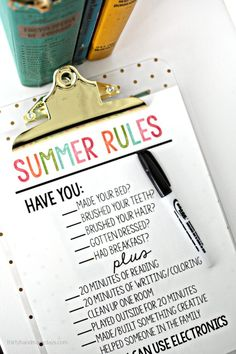 I'm excited to have a more lax schedule, but summer always scares me a bit because of that. Here's my solution --- this printable summer rules sheet.