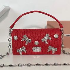 39b48e968ca Miu Miu Bow Crystal   Pearl Matelasse Nappa Leather Shoulder Bag 5BD417 Red  2017