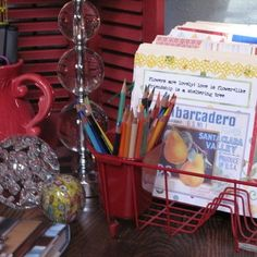 A Vintage Dish Rack used as a file and pencil holder! LOVE!