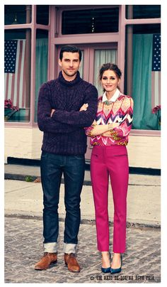 Olivia Palermo wearing pink trousers with boyfriend Johannes Huebl wearing navy knit