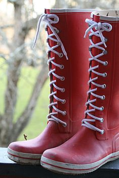 Red retro rubber boots by Craft & Creativity,