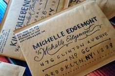 Hand Lettered Envelopes | And Here We Are Not really typography - but lettering - so it counts, right?