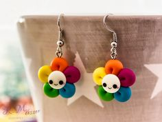 Sue - pic for inspiration - pixels Polymer Clay Kawaii, Polymer Clay Flowers, Fimo Clay, Polymer Clay Projects, Polymer Clay Jewelry, Diy Clay Earrings, Flower Earrings, Clay Keychain, Clay Charms