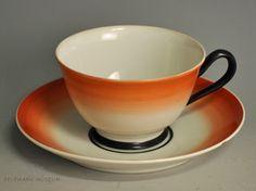 Cup and saucer by Nora Gulbrandsen for Porsgrund Porselen 1927 1920s House, Machine Age, Nordic Design, Tea Sets, Modern Classic, Cup And Saucer, Scandinavian, Art Deco, Porcelain