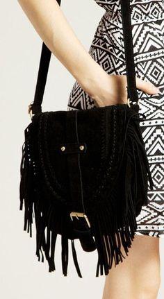 Black Foldover Tassel Shoulder - Cute Foldover Tassel Shoulder Bag