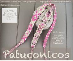 Pulseras Patuconicos Friendship bracelets Hechas a mano en España con nudos de macramé. hand made in Spain friendship bracelets. Modelos espiga; OOOMMM y corazones. 6€, 6€ y 4€ (gastos de envío no incluidos.