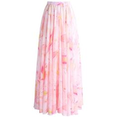 Chicwish Luscious Lily Watercolor Chiffon Maxi Skirt in Pink (€39) ❤ liked on Polyvore featuring skirts, pink, long skirts, pink skirt, pink floral skirt, ankle length skirts and chiffon skirt