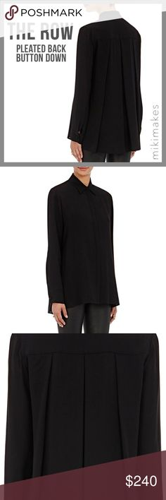 """// S O L D // • gorgeous black blouse from The Row (line from the Olson twins) • hidden button placket at the front • collared • large pleats at the back • very loose fit with long sleeves • front is slightly shorter than the back • cuff with button detail, one button is missing • still sold in Barney's stores regular price $790  100% viscose Dry Clean  ✂️  Bust = 46"""" ✂️  Waist = 52"""" ✂️  Shoulder = 17"""" ✂️  Length = 28""""  • sorry no trades • please feel free to ask any questions  ❤️ @mikimakes…"""