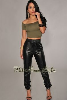 dd6763f05fae Black Faux-Leather Jogger Pants  39.99. Katie Mulqueen · Hot Miami