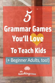 Want some top grammar tips for teaching English grammar or ESL grammar? I love teaching with games, so click the pin to read my blog post on 5 Grammar Games you'll love.  Teach adults English? Absolute beginner ESL adults? No worries! Head to the post and learn more about English teaching tips. Join The Teaching Cove for FREE English teaching printables updated monthly, organizational hacks and motivational posters, too! https://www.teachingcove.com/