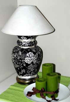 Mod Podge fabric lamp revamp...TAG SALE SEASON IS COMING! NEED LAMPS...THIS LOOKS TEMPTING!!!