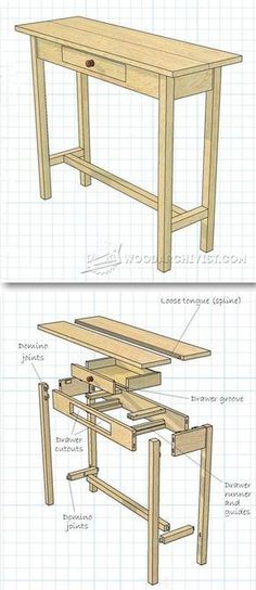 Hall Table Plans - Furniture Plans and Projects | WoodArchivist.com #WoodWorkingPlansFurniture