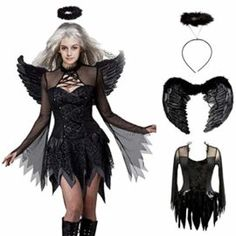 Devil Feathered Black Wings Fluffy and Furry for Halloween Bad Angel Girls Devil