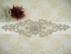 QueenDream Wedding bridal applique sash Bridal belt Sew on wedding bridal dress DIY sewing craft Diamante lace trim Crystal sash - Ivory *** You can get more details by clicking on the image.