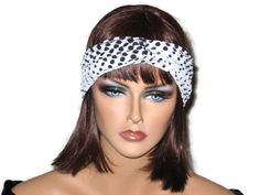 Handmade Black Bandeau Headband Turban, Polka Dot, White