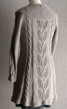 Milkweed, Knit from the bottom in 5 pieces with set-in sleeves. Cable decreases shape sleeve caps, armholes.  Available as a pattern download for $7.95, or as a kit