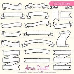 Doodle Ribbon Banner Clipart Vectors - Objects - 1