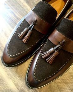 Men,s Handmade Superb Leather and Suede Shoes with Tassels, Men dress shoes - Casual