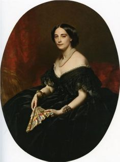 Portrait of a lady with a fan - Franz Xaver Winterhalter