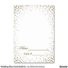 Wedding Place Card Gold Confetti Elegant and beautiful looking gold confetti glitter wedding escort / place card. This card is designed to be filled in by hand at a later date and is great for unexpected guests. Please NOTE: You will need to fold down the center to make them a folded tent card. Also this is a graphic art reproduction and contains no messy glitter. Ideal for weddings, birthdays, holidays, events....