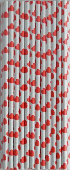 Papierowe Retro Słomki  !! czerwone serca !!