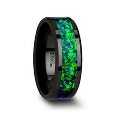 Green Sapphire, Blue Opal, Emerald Green, Black Rings, Womens Wedding Bands, Wedding Men, Wedding Stuff, Wedding Ideas, Opal Rings
